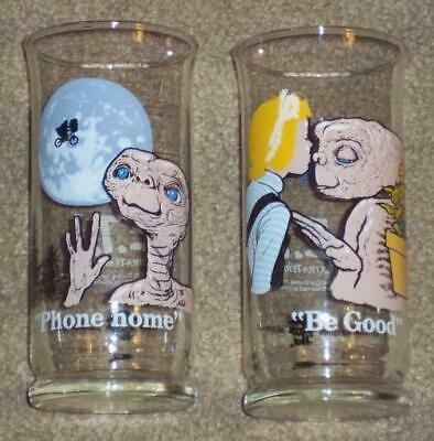 "2 1982 Limited Edition Pizza Hut E. T. Glasses, ""Phone Home"", ""Be Good"",  16 Oz."