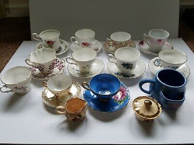 Vintage China Teacup and Saucer Lot Royal Stuart, Dover, Vale, Bluebird, Rosina