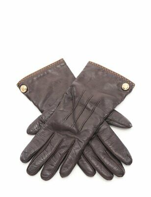 COACH glove gloves leather cashmere brown