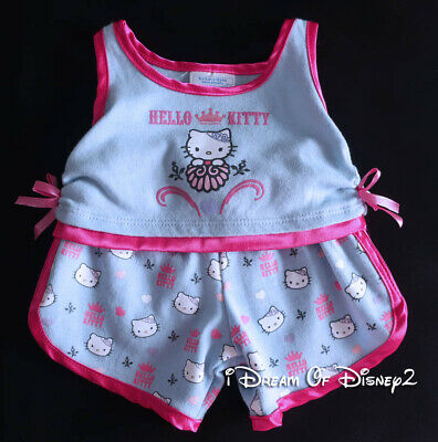 Build-A-Bear HELLO KITTY Blue Gray ROYALTY PAJAMAS PJ'S Teddy Clothes Outfit