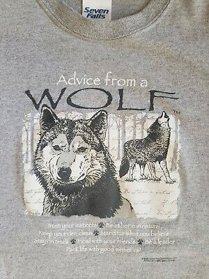ADVICE FROM A WOLF Gray T-Shirt From Seven Falls Adult Size Small
