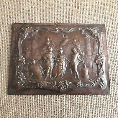 Copper Plaque With Repousse Classical Scene