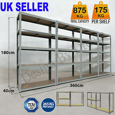 Thicker Garage Shed 5 Tier Racking Storage Shelving Units Boltless Shelves Bays