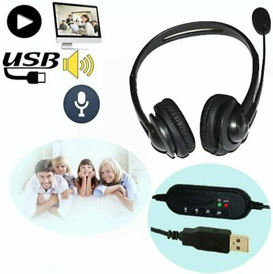 USB Headset with Microphone Noise Cancelling Computer PC Headset Lightweight USA