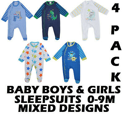 Baby Boys Girls 4 Pack Sleepsuits Ex Store 0-9 Months Mixed Packs Cotton New