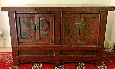 A RARE 19th CENTURY COUNTRY HOUSE RED LACQUERED CHINESE CABINET SIDEBOARD