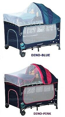 Dino All in 1 Deluxe Baby Portable Travel Cot Portacot Playpen Crib Bed Bassinet