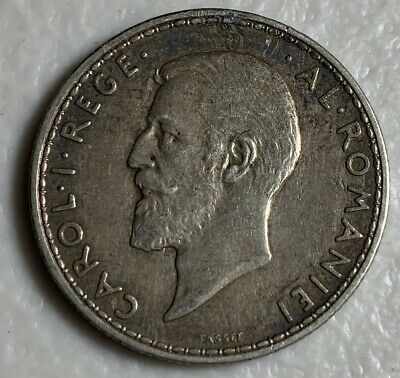 1911 Romania 2 Lei Extra Fine Coin pictured-coin Received Lot 3853