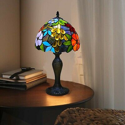 """New Antique Popular Tiffany Style 10"""" Art Stained Glass Desk Table Lamp Uk Stock"""