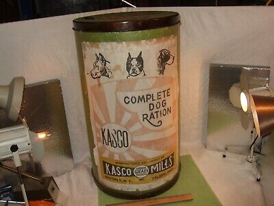Vintage Kasco Complete Dog Ration Animal Food Container Ad Canister Grain produc