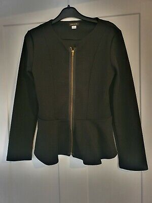 Black front zip peplum unlined jacket girls  river island age 9 10 years