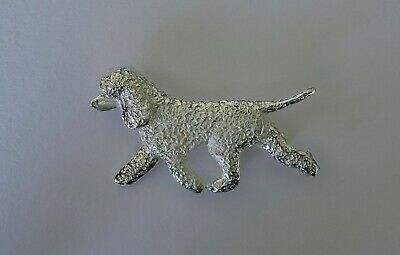 Large Sterling Silver Irish Water Spaniel Moving Study Brooch