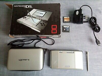 Nintendo DS Silver Console; Original Box; Unofficial Case; Charger; 2 Games