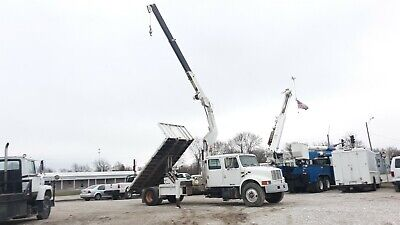 1995 International 4900 Crew Cab Flatbed Dump Truck with Knuckleboom Crane