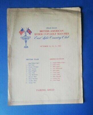 1963 - Ryder Cup (East Lake Country Club) Pairing Sheet.