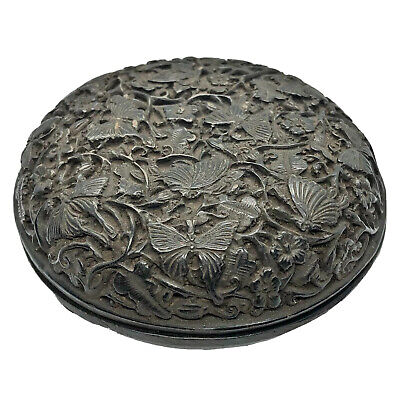 Antique Or Vintage Chinese Hand Carved Box Artwork Old Asian Butterfly Artwork