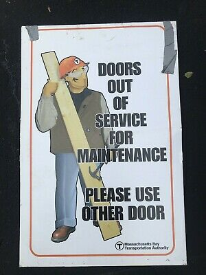 Vintage Boston MBTA T Doors out of Service Sign