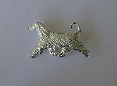 Large Sterling Silver Afghan Hound Moving Study Brooch