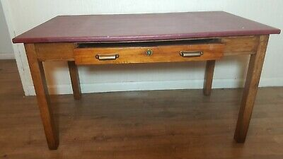 Antique Captains Writing Desk. Vintage Retro Solid Wood Desk. Rustic Farmhouse
