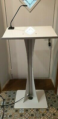 White Powder Coated Metal Lectern With Audio Technica Mic Holder & Gooseneck Mic