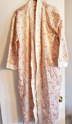 Vanity Fair Large Womens Silky Ivory Robe Lace Front Housecoat Negligee Cover Up