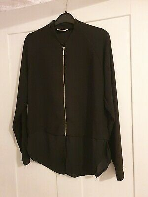 Black zip front lightweight blouse jacket  girls river island 11 12 years