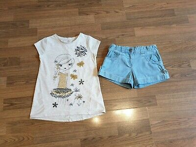 Girls Outfit Set Top T-shirt And Monsoon Blue Denim Shots 7-8 Years