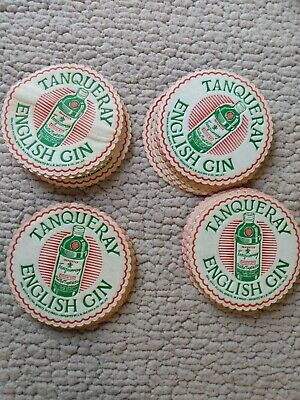 "Tanqueray English Gin 4"" round  Set Of 27 Thin Paper Coasters Pre-owned."