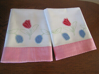 Vintage Pair of Pillowcases Embroidered & Appliqued Red & Wedgwood Blue Tulips