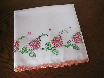 Vintage Single Pillowcase Embroidered Crotcheted Pink Lilacs & Asters Exquisite