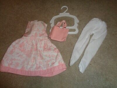 Pink toile dress outfit  and pink velour hoodie fits 18 inch or AG dolls