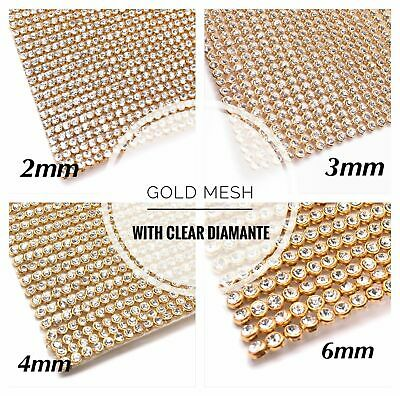 Clear Crystal on Gold Iron on Chaton Diamante Transfer Strips crystal Wedding