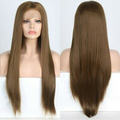 AU 24inch Synthetic fiber Lace front wigs Women Silky Straight Handtied Brown