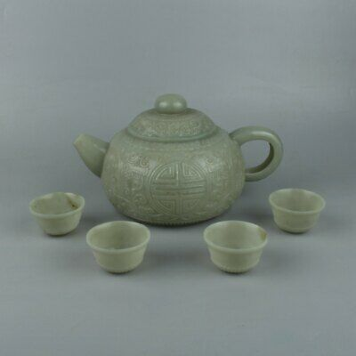 Chinese Exquisite Hand carved Hetian jade teapot cup
