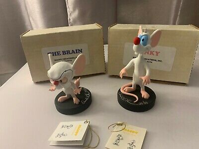 "Pair David Kracov Creations Pinky & The Brain 5"" Figures Autographed 1 Of 50 Eac"