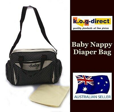 Baby Diaper Tote Nappy Bag With Change Mat Waterproof Chocolate B40