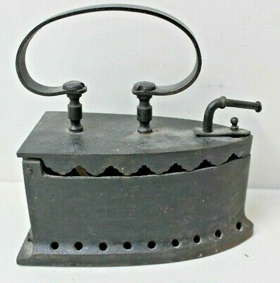 Antique Vintage Cast Iron Hot Coal Fired Clothes Press Iron Home Decor