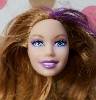 Barbie Doll Head Only For Ooak Custom Splash & Style Mermaid Red & Purple Hair