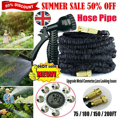 75-200FT Expanding Flexible Expandable Garden Water Hose Pipe + Spray Nozzle NEW
