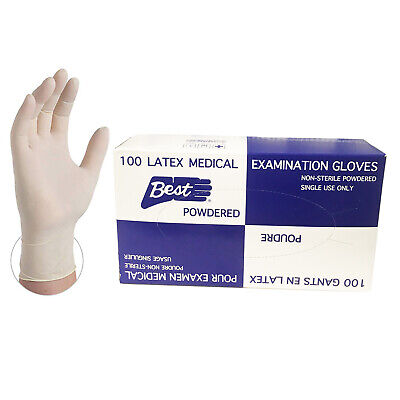 Latex Examination Gloves, Medium, 100/box, New