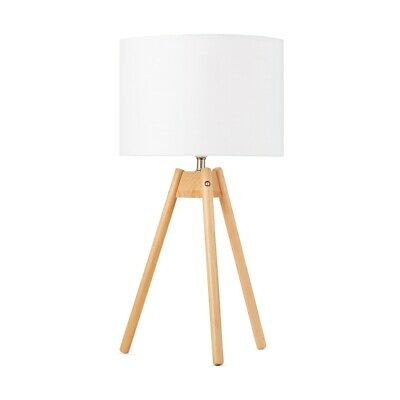 Modern Art Deco Wooden Tripod Table Lamp White Shade Natural Brown
