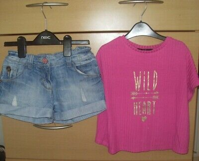 Girls Next denim shorts & belly top summer outfit age 9