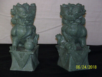 Pair Chinese Hand Carved Stone Sculptures Foo Dog Temple Beast Statues