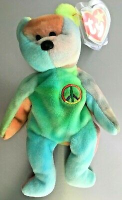 Peace Bear #4053 Ty Beanie Baby Mwmt Great Colors!!