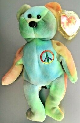 Peace Bear #102 Ty Beanie Baby Mwmt Absolutely Gorgeous - Great Colors!!