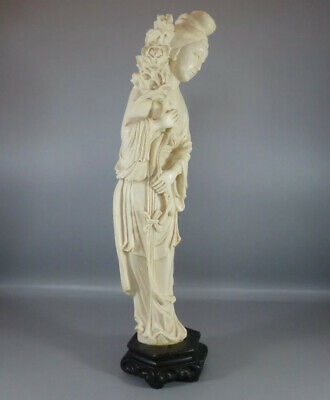 """Vintage Chinese Hand Carved Resin Woman Figure On Wooden Base Decor - 14"""" Tall"""