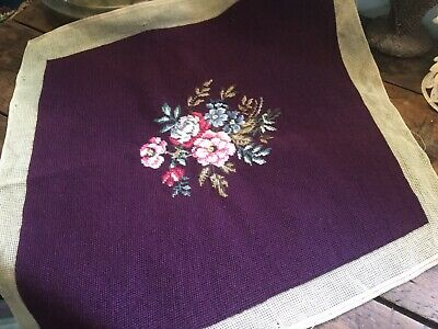 Vintage Wool Needlepoint Pillow Seat Chair Cover Aubergine w Pink Flowers Garden