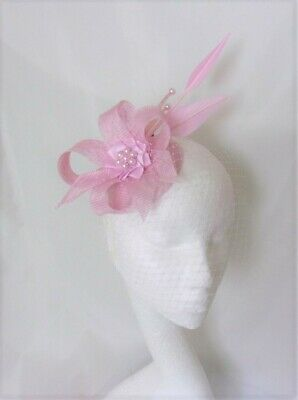 Candy Pale Pink Feather Sinamay Veil Wedding Fascinator Cocktail Percher Hat