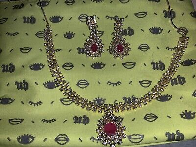 artificial Indian pink earing and necklace set