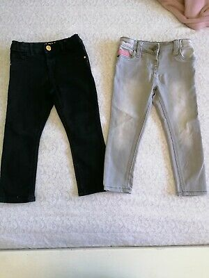 X2 Pairs Of Girls Jeans Age 2-3 River Island And TU